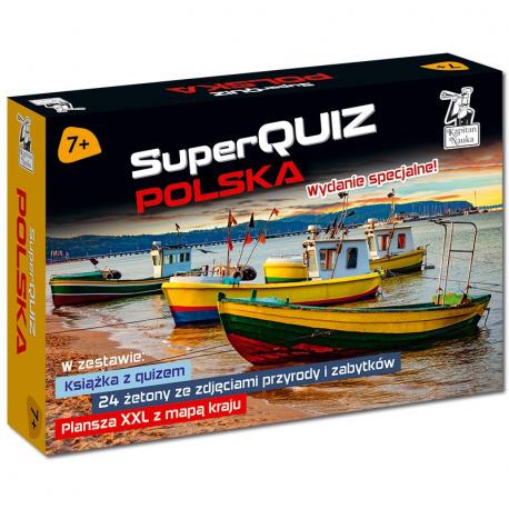 Kapitan Nauka Pakiet SuperQuiz Polska 7+ (książeczka + plansza XXL + żetony)