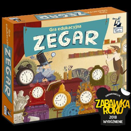 Kapitan Nauka Gra edukacyjna Zegar (dwustronny zegar ze wskazówkami + 4 dwustronne plansze + 36 żetonów + instrukcja)