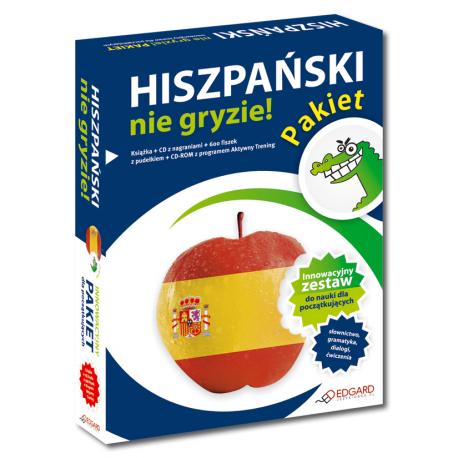 Pakiet Hiszpański nie gryzie! (Książka + CD Audio + 600 fiszek z pudełkiem + CD-ROM z programem Aktywny Trening)