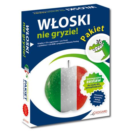 Pakiet Włoski nie gryzie!  (Książka + CD Audio + 500 fiszek z pudełkiem + CD-ROM z programem Aktywny Trening)