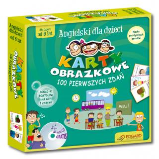 Angielski dla dzieci Karty obrazkowe 100 pierwszych zdań (od 6 lat) (Książeczka + 104 ilustrowane karty + płyta CD )