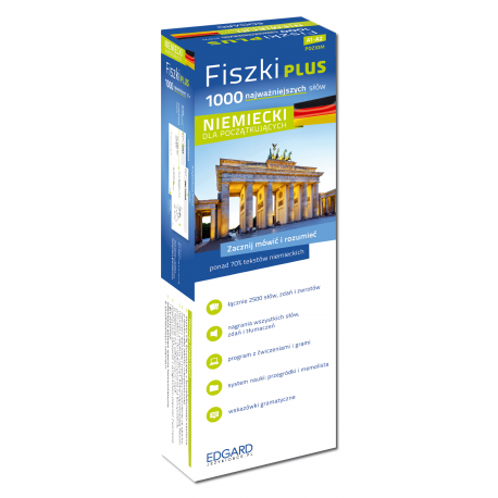 Niemiecki Fiszki PLUS 1000 najważniejszych słów dla początkujących + CD  (1000 fiszek + CD-ROM z programem i nagraniami MP3 + Kolorowe przegródki + etui)