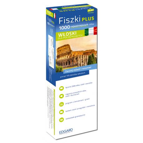 Włoski Fiszki PLUS 1000 najważniejszych słów dla początkujących  (1000 fiszek + CD-ROM z programem i nagraniami MP3 + Kolorowe przegródki + etui)