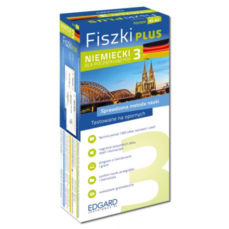 Niemiecki Fiszki PLUS dla początkujących 3  (600 fiszek + program i nagrania do pobrania + kolorowe przegródki + etui)