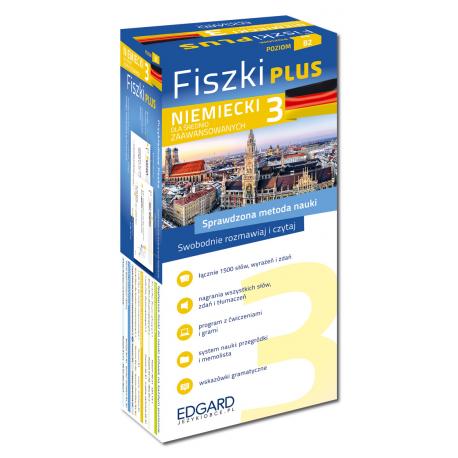 Niemiecki Fiszki PLUS dla średnio zaawansowanych 3  (600 fiszek + program i nagrania do pobrania + kolorowe przegródki + etui)