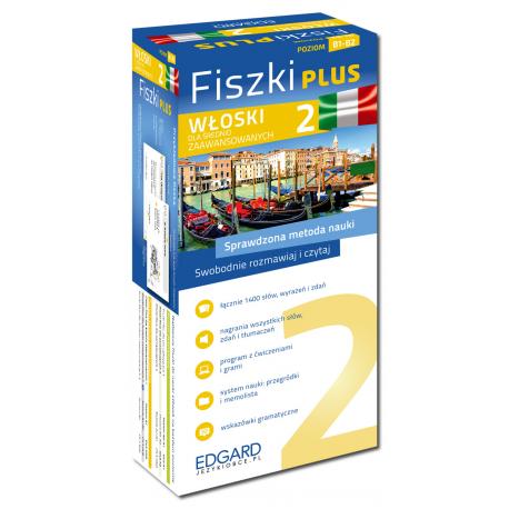Włoski Fiszki PLUS dla średnio zaawansowanych 2  (600 fiszek + program i nagrania do pobrania + kolorowe przegródki + etui)