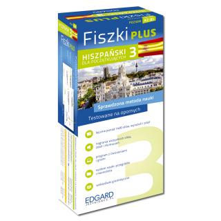 Hiszpański Fiszki PLUS dla początkujących 3  (600 fiszek + program i nagrania do pobrania + kolorowe przegródki + etui)
