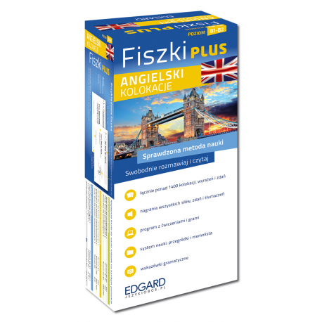 Angielski Fiszki PLUS Kolokacje  (600 fiszek + program i nagrania do pobrania + kolorowe przegródki + etui)