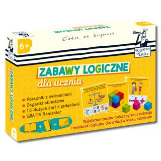 Kapitan Nauka. Zabawy logiczne dla ucznia 6+ (poradnik dla opiekunów + zagadki obrazkowe + karty z ćwiczeniami + flamaster)