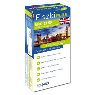 Angielski Fiszki PLUS Zwroty konwersacyjne dla początkujących  (600 fiszek + program i nagrania do pobrania + kolorowe przegródki + etui)
