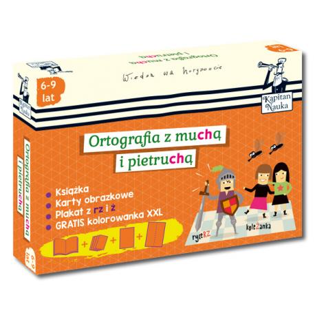 Kapitan Nauka. Pakiet Ortografia z muchą i pietruchą 6-9 lat (Poradnik dla opiekunów + karty obrazkowe + plakat + kolorowanka XXL)