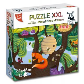 Kapitan Nauka. Puzzle XXL. Mieszkańcy drzewa 2-4 lata (15 elementów)